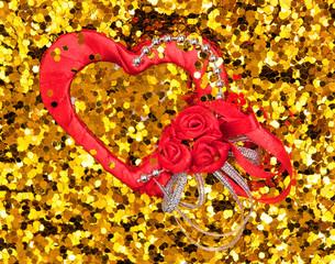 valentine's day hearts on golden background