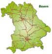 Landkarte von Bayern mit Autobahnnetz
