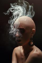 Baldhead woman