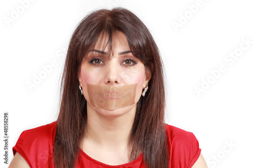 Woman mouth-taped