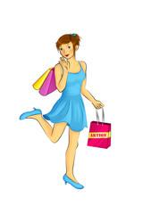 Frau mit Einkaufstüten Shopping
