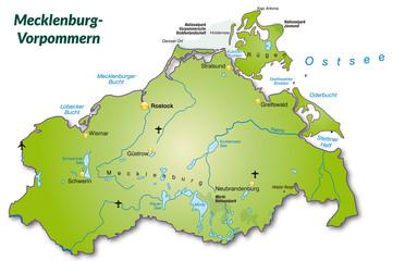 Landkarte von Mecklenburg-Vorpommern als Inselkarte
