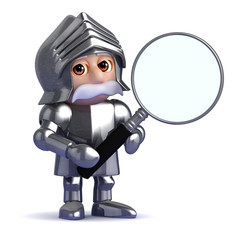 Knight looks through magnifying lens