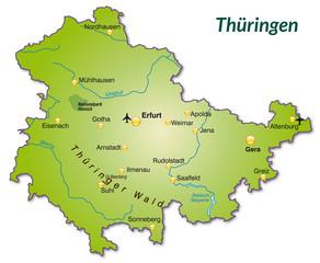 Landkarte von Thüringen als Inselkarte