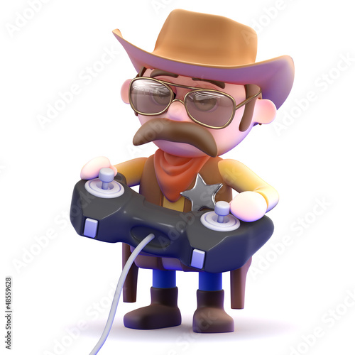 Cowboy plays his videogame