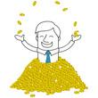 Geschäftsmann, Reichtum, Geld, Münzen, Gold