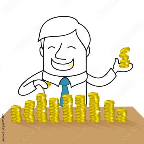 Geschäftsmann, Reichtum, Geld zählen, Münzen