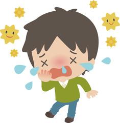 花粉症に苦しむ若い男性