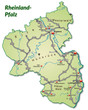 Landkarte von Rheinland-Pfalz mit Verkehrsnetz
