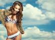 Portrait of a beautiful woman in bikini