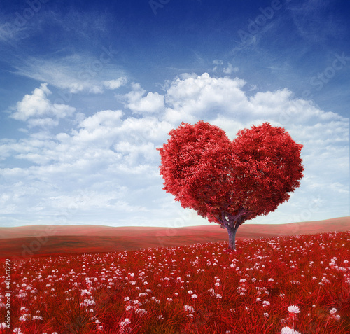 In de dag Landschap Tree in the shape of heart, valentines day background,