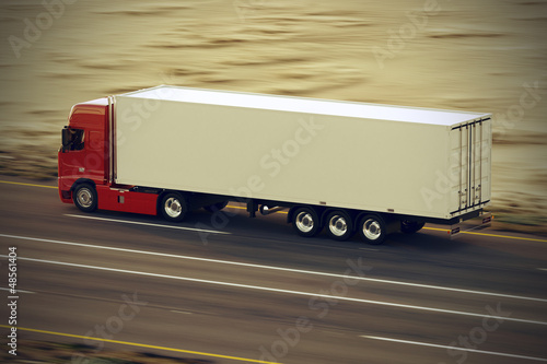 Truck on the road.