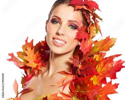 Beautiful autumn women.