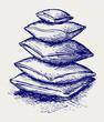 Closeup pillow. Doodle style