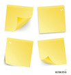 Yellow stick note isolated on white background, vector illustrat