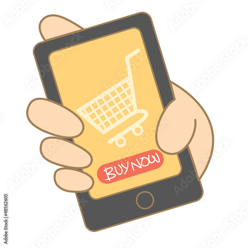 cartoon drawing of mobile shopping