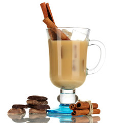 Latte in glass isolated on white