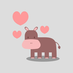Cute hippopotamus in love romantic illustration