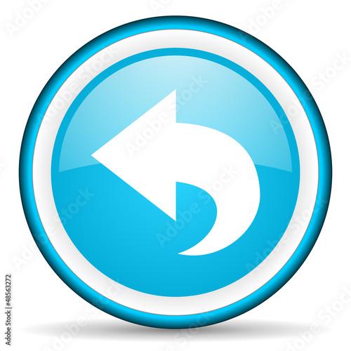 back blue glossy icon on white background