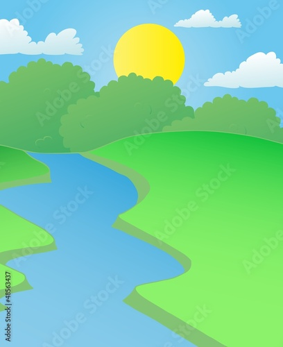 Landscape river in summer