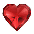 Red diamond heart isolated with clipping path.
