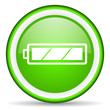 battery green glossy icon on white background