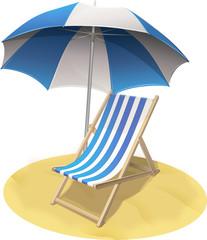 Chaise longue sur la plage (détouré)