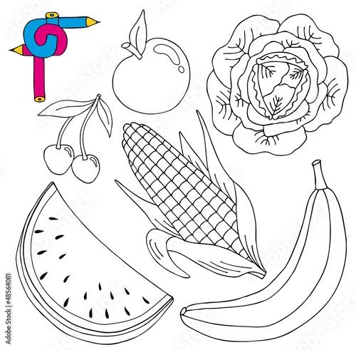 蔬菜色拉手绘图