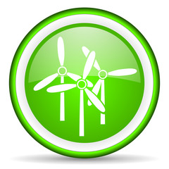 windmill green glossy icon on white background