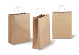 Three brown paper bags