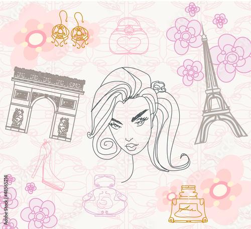 Spoed canvasdoek 2cm dik Doodle Paris seamless pattern