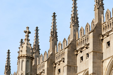 Spires of King's College Chapel, Cambridge.