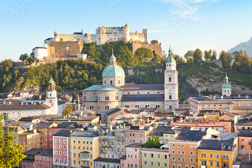 City of Salzburg at sunset, Salzburger Land, Austria