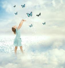 Little Girl with Butterflies