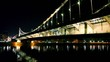 Crimean bridge over river with light reflection on water
