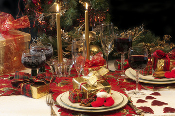Traditional Christmas table setting.