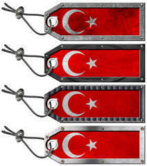 Turkey Flags Set of Grunge Metal Tags