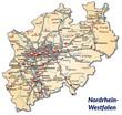 Landkarte von Nordrhein-Westfalen mit Verkehrsnetz