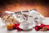 Fototapety White breakfast dishware