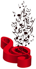 Musica con chiave di violino rossa