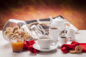 White breakfast dishware
