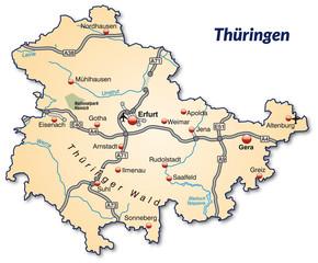 Landkarte von Thüringen mit Verkehrsnetz