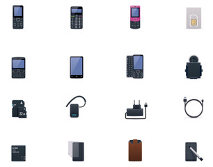 Vector cell phones and accessories icon set