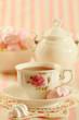 Black tea and meringue cookies