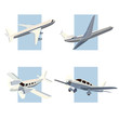 Set of simple icon of aircrafts.