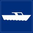 Schild blau - Motorboot