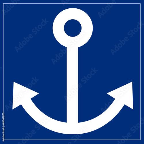 Schild blau - Anker