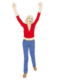 Woman raising hands
