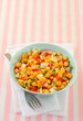 Chickpeas salad with fresh vegetables and cheese