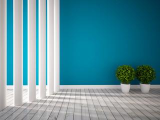 blue empty interior with columns